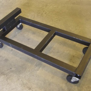 4-wheeled, steel-frame dolly.