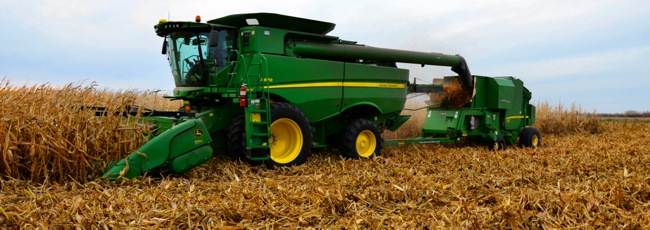 John Deere combine and baling attachment