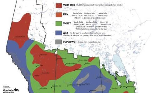 stubble soil moisture map of the Canadian prairies
