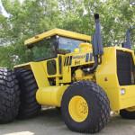 This 500 horsepower, two-wheel drive tractor was built in 1979 to work on the Honey Brothers' farm near Bracken, Saskatchewan.