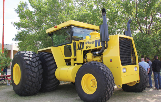 This 500 horsepower, two-wheel drive tractor was built in 1979 to work on the Honey Brothers' farm near Bracken, Saskatchewan.