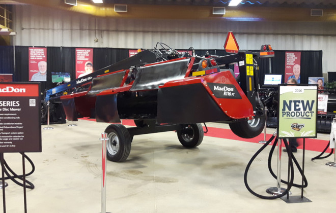 MacDon displayed one of its new R1 Series machines at Manitoba Ag Days in Brandon in January.