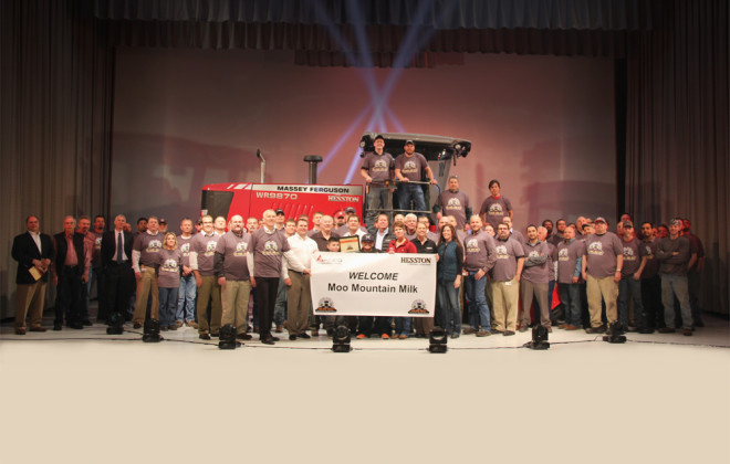 Unveiled to a group of visitors and its purchaser during a special ceremony, the 100,000th swather to be built at AGCO's Hesston, Kansas, manufacturing facility was centre stage at the facility's auditorium.