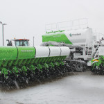 Clean Seed Capital Group held a ceremony to mark the launch of the first production CX6 Smart Seeder outside the manufacturing facility in Steinbach, Manitoba. The event went ahead despite a sudden April snowstorm.