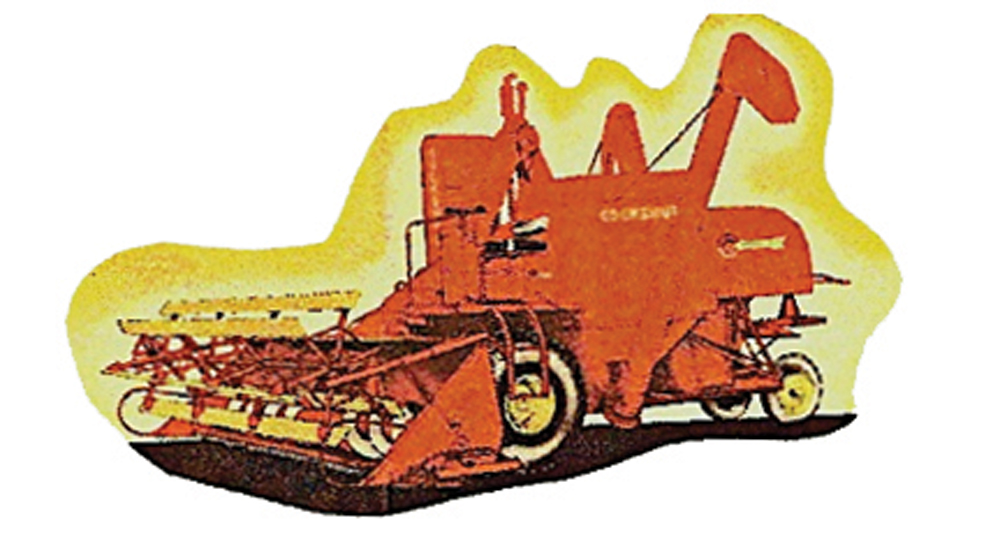 The second combine I ran was a self-propelled model: a Cockshutt 132. Because the operator sat right in the dust, goggles were a must on a windy day.