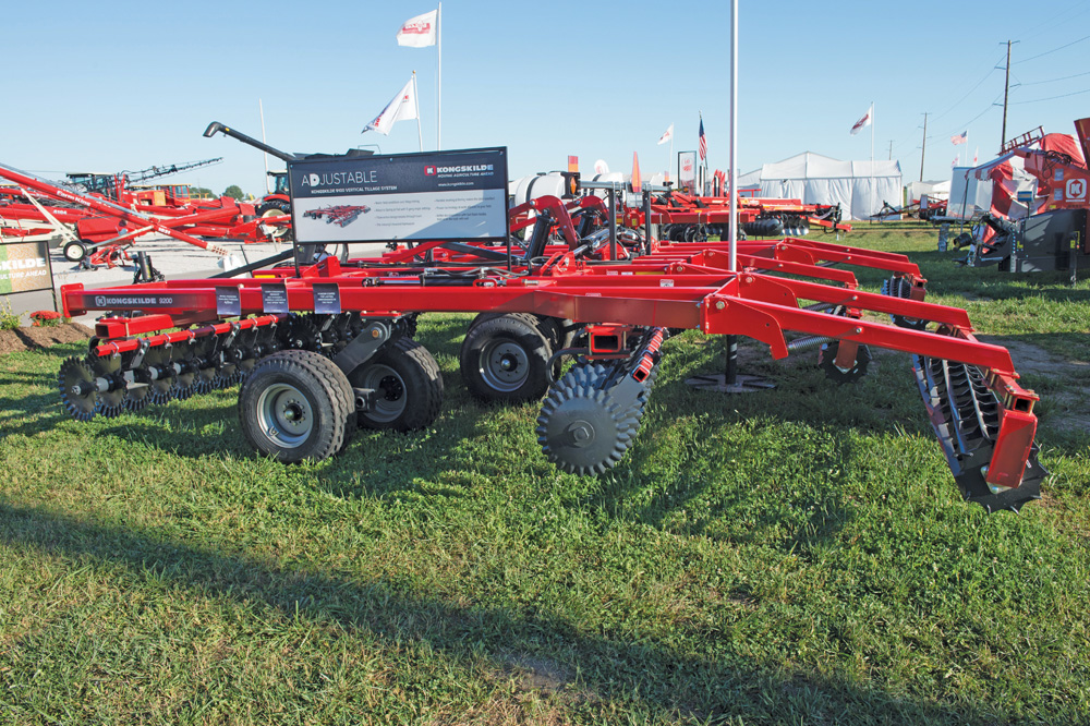 Danish firm Kongskilde offers its 9200 Series vertical tillage implement to North American farmers in working widths from 11 to 43 feet.