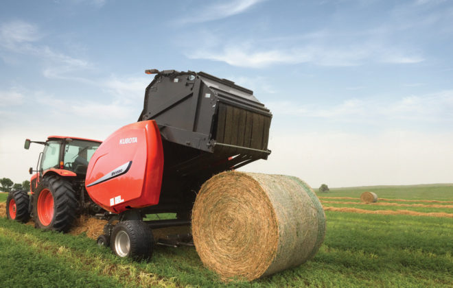 The newest and largest round baler to join the Kubota product line is the BV4580, which can make 1,800 pound, 5' x 6' bales.