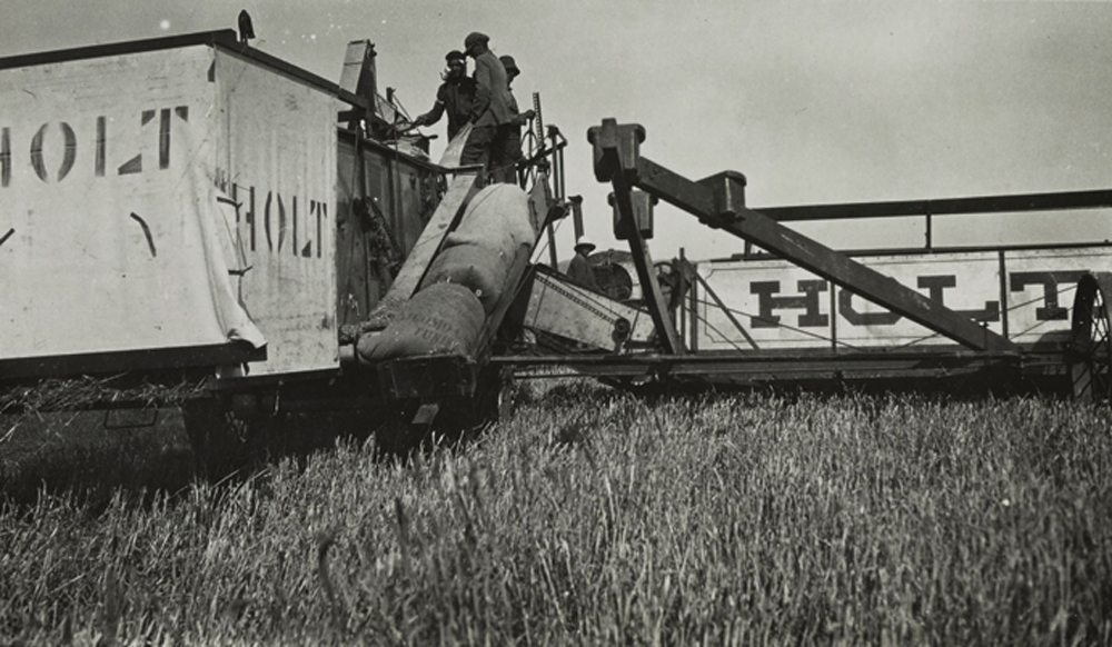 This series of early Holt combine images was supplied courtesy of Caterpillar Inc.