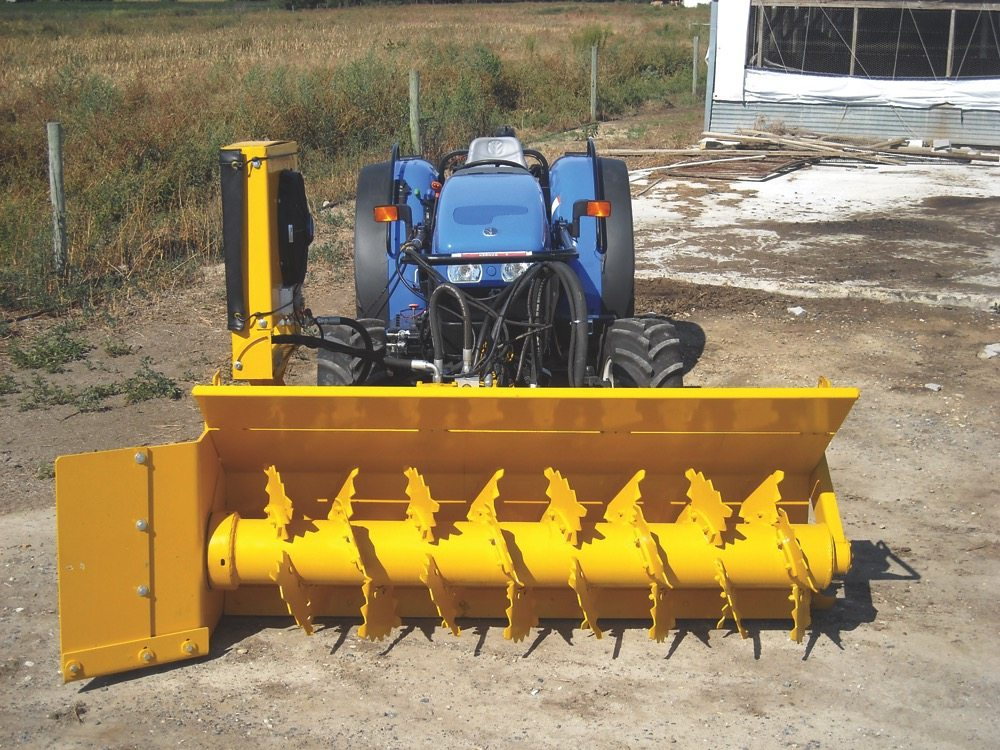 One of the Brown Bear Manufacturing front-mounted compost turner/aerators.