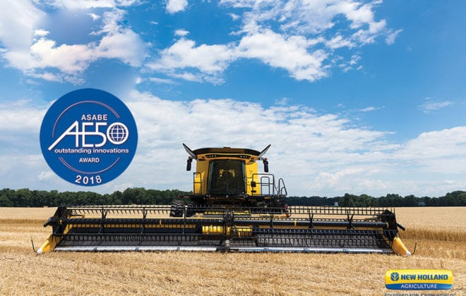 New Holland's CR combines earned an AE50 award for their Opti-Spread Plus residue management system.