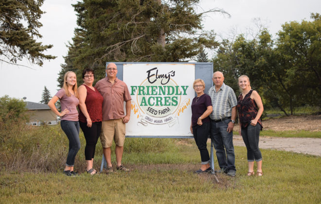 The family at Friendly Acres Seed Farm. Kevin Elmy and his wife Christina, Kevin's parents, Robert and Verene, and Kevin and Christina's daughters, Kennedy and Haley.
