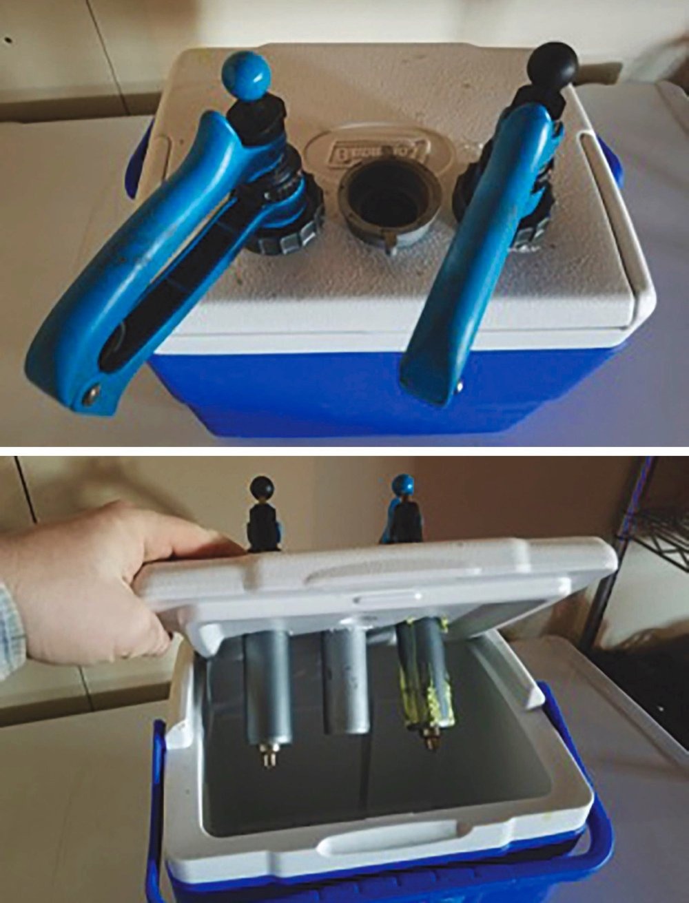 A small plastic cooler and sink drains make a handy and safe holder for materials when vaccinating cattle.