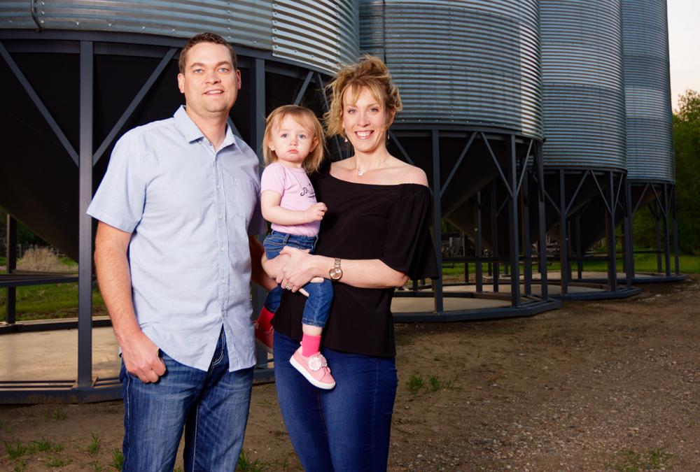 Saskatchewan OYF nominees, Jason and Jenna Ranger and daughter Bridget, two.