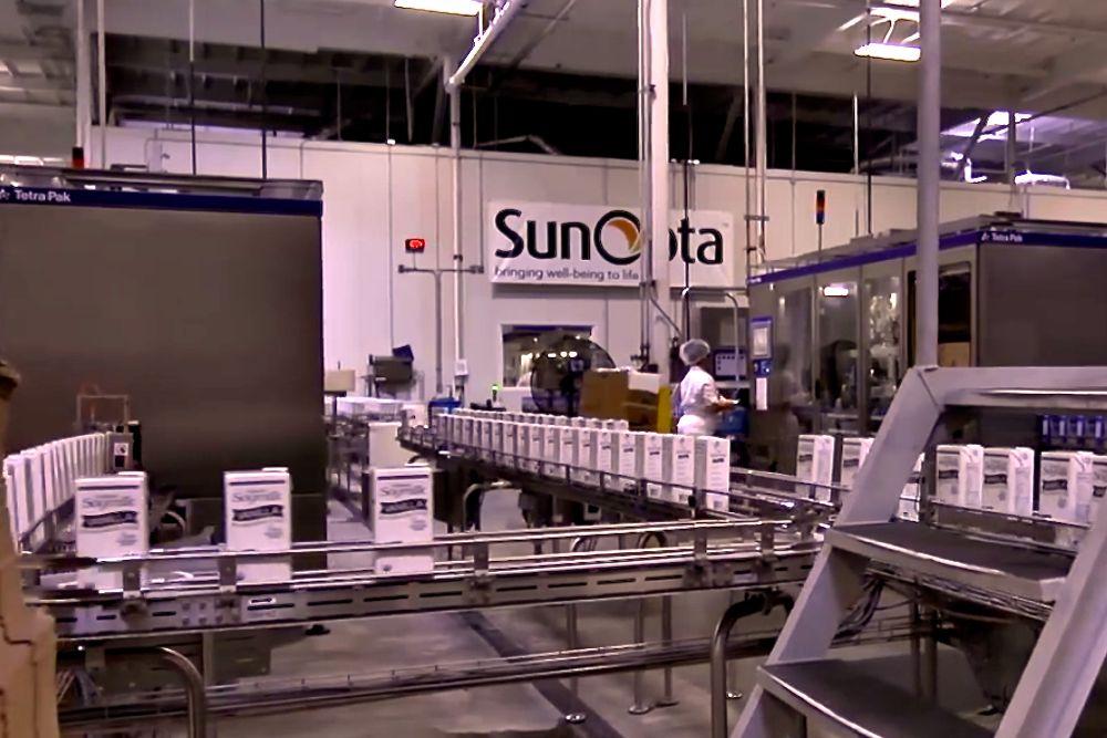 A SunOpta soy milk processing line. (SunOpta, via YouTube)
