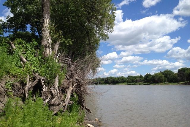 The Red River, shown here at Winnipeg, forms most of the border between North Dakota and Minnesota as it flows northward into southern Manitoba and Lake Winnipeg. (File photo by Dave Bedard)