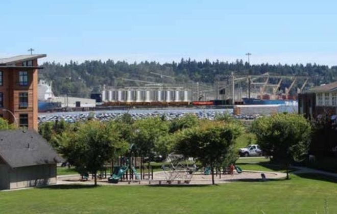 A photo simulation of the proposed new Fraser Grain Terminal from Port Royal Park in New Westminster looking southeast. (FraserGrainTerminal.ca)