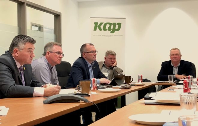 Manitoba Conservative MP James Bezan (l) and ag and trade critics Luc Berthold and Randy Hoback (centre) meet with farm and canola sector representatives including Keystone Agricultural Producers president Bill Campbell (right) and canola grower Brian Chorney (second from left) on April 24, 2019. (Dave Bedard photo)