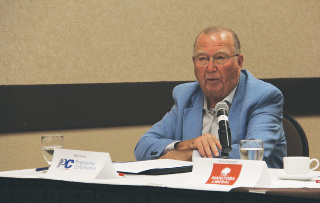 Manitoba's agriculture minister Ralph Eichler, shown here at an Aug. 27 pre-election forum hosted by the Manitoba Farm Writers and Broadcasters Association, easily held his riding of Lakeside in the Sept. 10 provincial election. (Manitoba Co-operator photo by Geralyn Wichers)