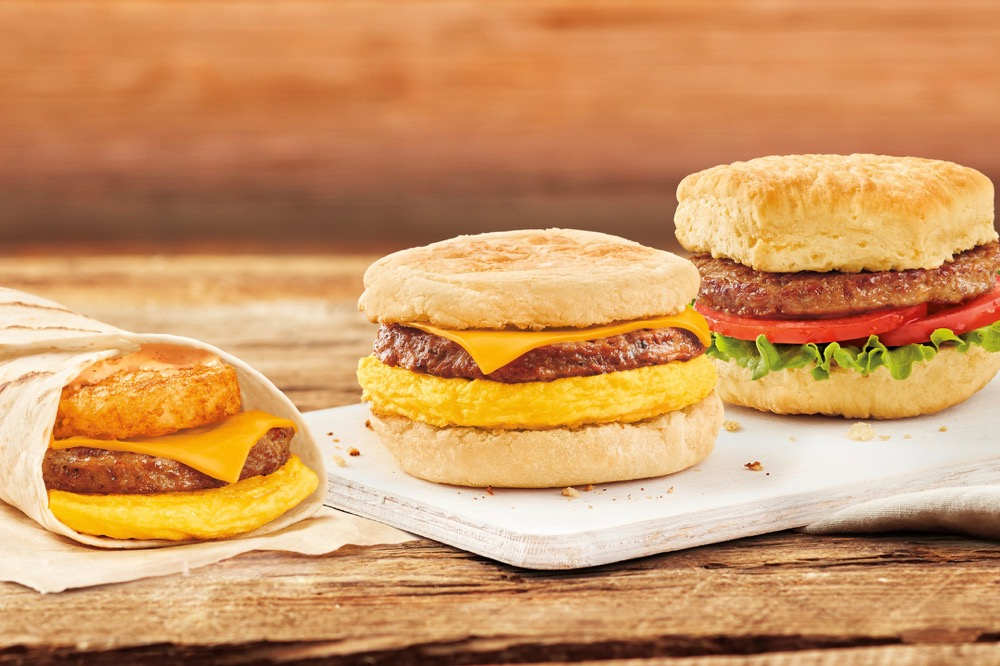 Tim Hortons had a nationwide rollout for Beyond Sausage Egg + Cheese, Beyond Sausage Farmer's Wrap and Beyond Sausage Lettuce Tomato sandwiches on its breakfast menu in June 2019. (CNW Group/Tim Hortons)
