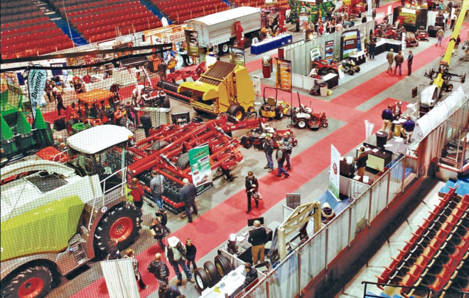 A view from above of a display floor at Manitoba Ag Days.