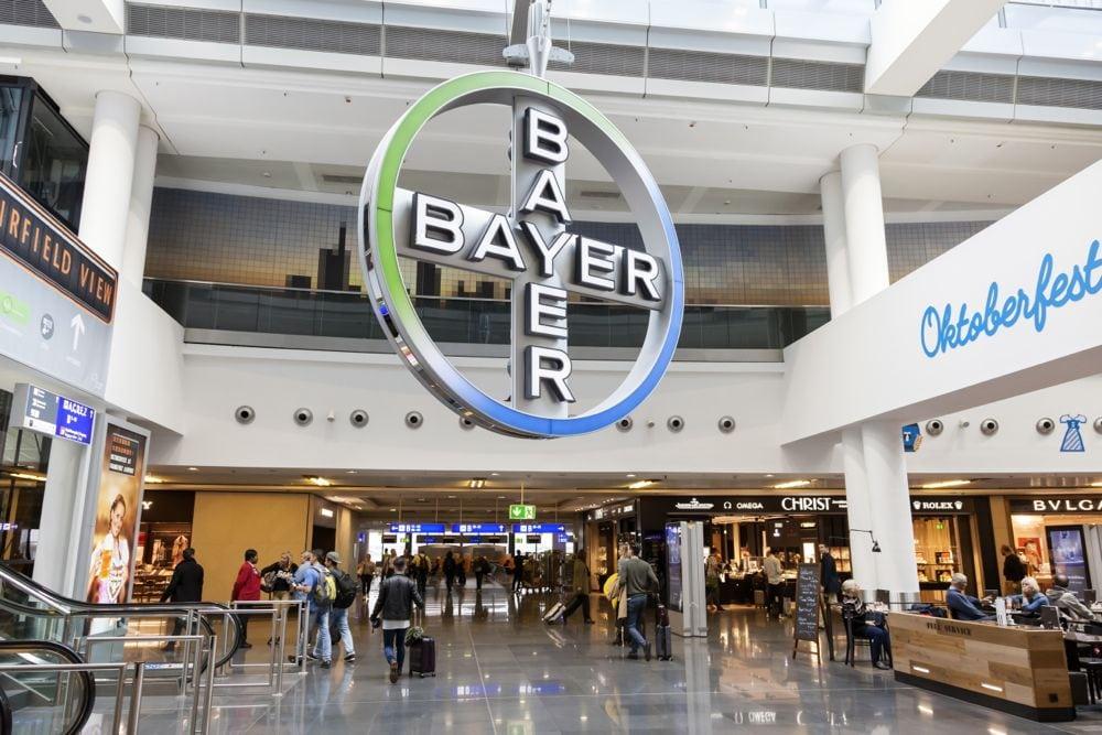 Bayer's cross symbol hangs in a terminal at Frankfurt International Airport. (Typhoonski/iStock Editorial/Getty Images)