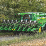 For X series combines, 12-, 16- and 18-row CF folding corn heads are available and 12-row heads are available for S series combines.
