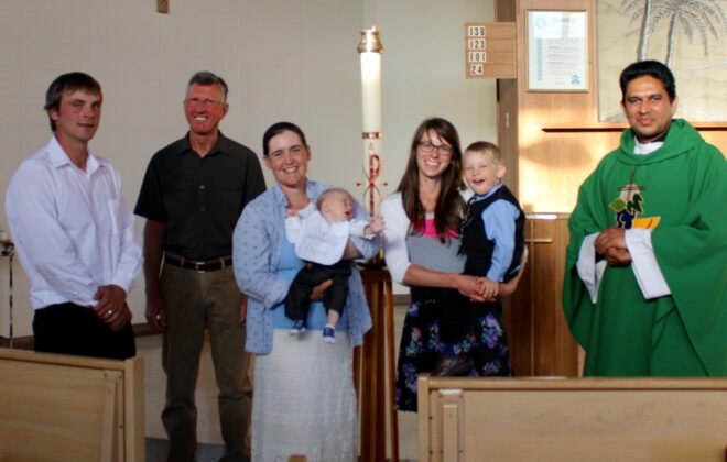 Not all the guests could be on hand for James Eppich baptism due to COVID-19 and closure of the U.S. border, but there was still good representation of Eppich family members on hand for the July ceremony.