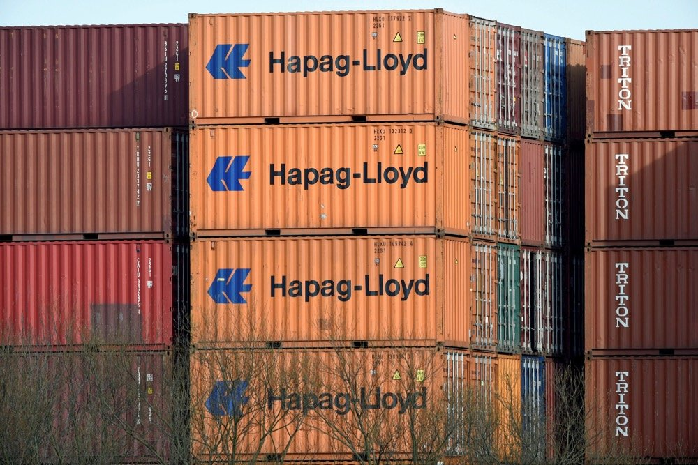 Hapag-Lloyd containers at a shipping terminal in Hamburg in March 2017. (File photo: Reuters/Fabian Bimmer)