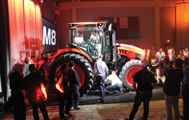 Kubota launched its initial two-model powershift M8 tractor line to about 80 North American dealers at an event in Grapevine, Texas, in August of 2019.