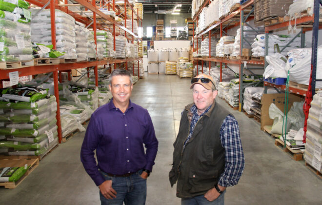 Union Forage general manager Geoff Barker, right and company president Graeme Finn in the southeast Calgary company headquarters and distribution centre.