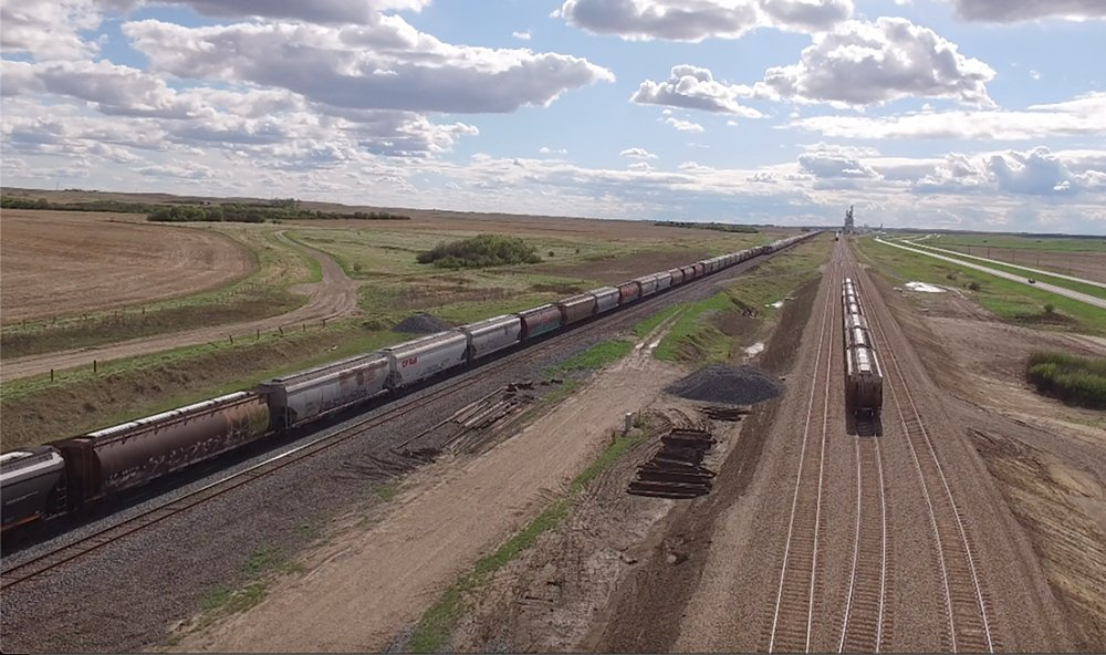 Rather than a loop system, South West Terminal in Saskatchewan installed three parallel tracks for the siding at its elevator. Each is 8,500 feet long.
