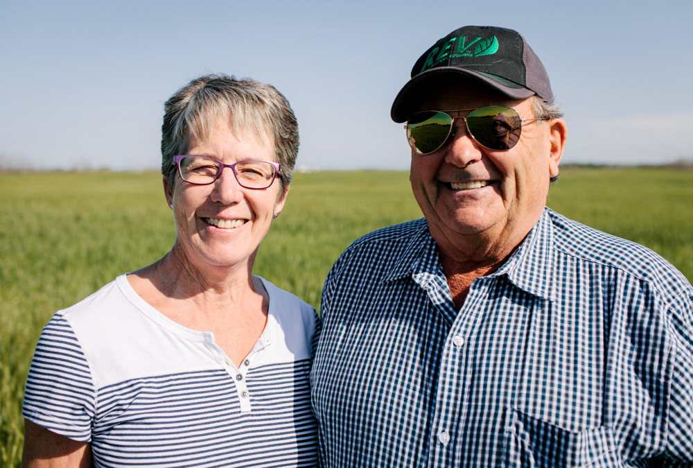 Organic farmer Boyd Charles, pictured here with wife, Gloria, of Stoughton, Sask., says his pelletized and cooked chicken manure packs more fertilizer punch for his grain crops than commercial fertilizer ever could.