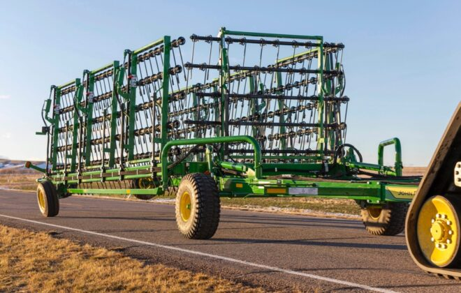John Deere says its new line of heavy harrows features a quick folding and unfolding sequence to help farmers move more quickly between fields. (Deere.com)