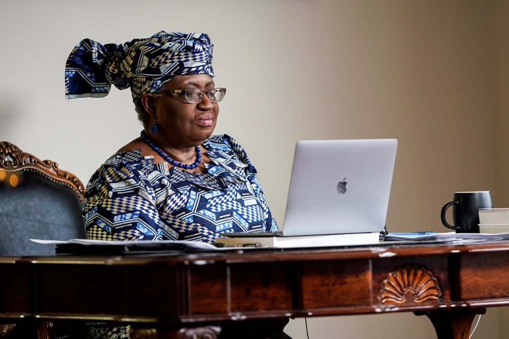 Incoming WTO director-general Ngozi Okonjo-Iweala takes part in an online meeting before speaking during an interview with Reuters in Potomac, Maryland on Feb. 15, 2021. (Photo: Reuters/Joshua Roberts)