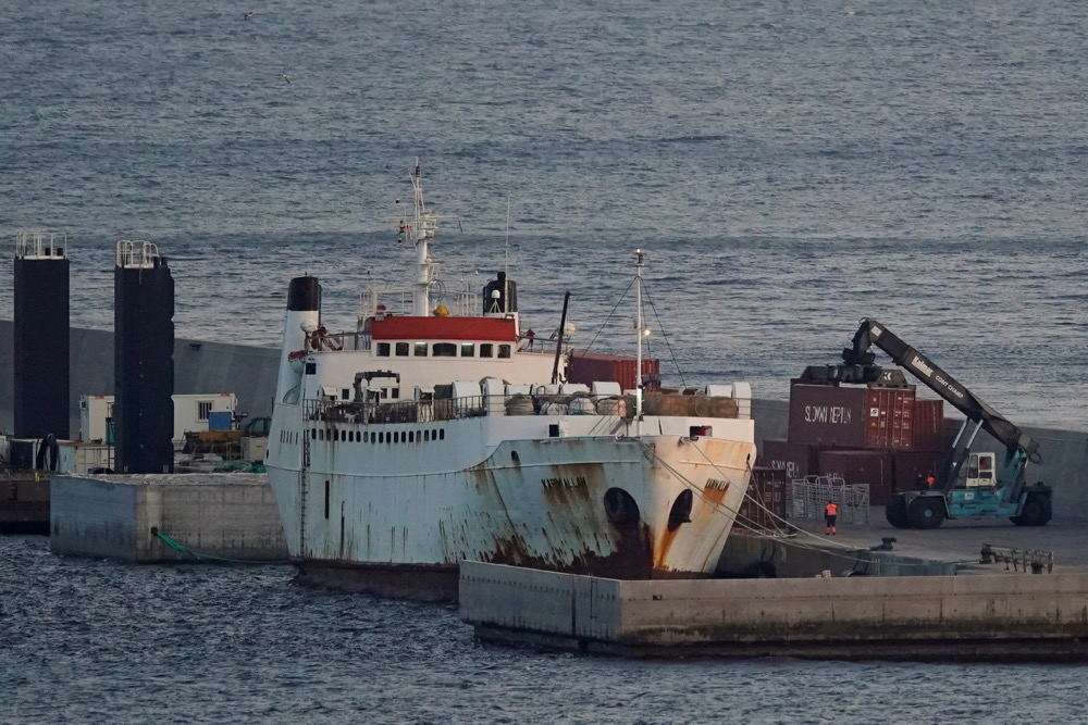The Karim Allah, a livestock ship carrying over 800 Spanish cattle stranded with suspected bluetongue disease, is docked at Escombreras in Cartagena, Spain on Feb. 26, 2021. (Photo: Reuters/Juan Medina)