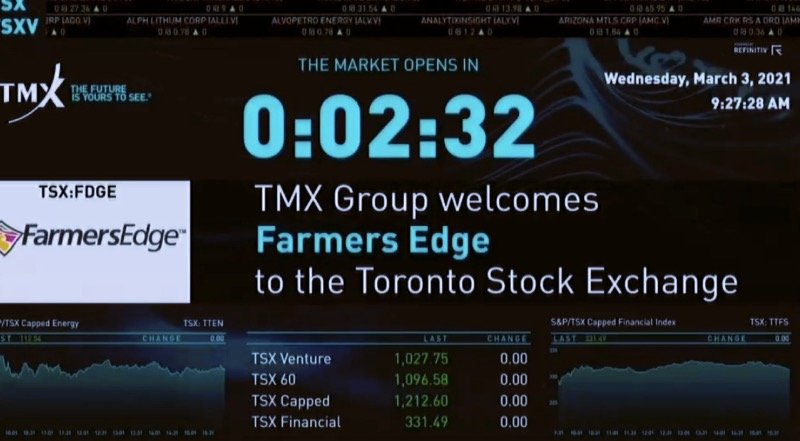 Farmers Edge's online event on March 3 included a congratulatory note from TMX Group, owner of the TSX. (Farmers Edge video screengrab)