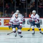Members of the Regina Pats during a May 20, 2018 game against New Brunswick's Acadie-Bathurst Titan at Brandt Centre in Regina. (CHL photo by Marissa Baecker)