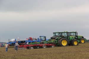 Tillage equipment lined up in one of the demonstration fields