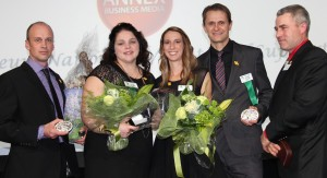 From left, Andrew and Heidi Lawless of PEI and Jill and Mryon Krahn of Carmen, MB are shown with OYF president Jack Thomson at awards ceremony in Quebec.