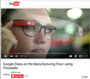 A scene from AGCO's YouTube video describing how Google Glass has been integrated into manufacturing operations